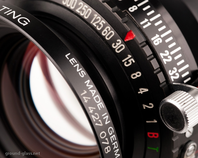 Detail of Schneider APO Symmar 150mm f/5.6 large format photography lens