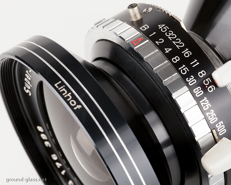 Detail of Schneider Super Angulon 65mm f/5.6 large format photography lens